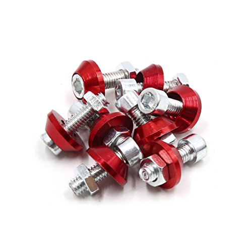 uxcell a18010500ux0096 8Pcs 6mm Thread Dia Motorcycle License Plate Frame Screw Bolts Cap Fasteners Red, 8 Pack