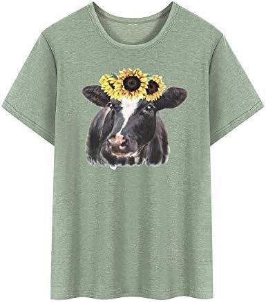 YNALIY damska koszulka z nadrukiem słonecznika krowy przewiewna część gÓrna grafika nadruk z krÓtkim rękawem: Odzież