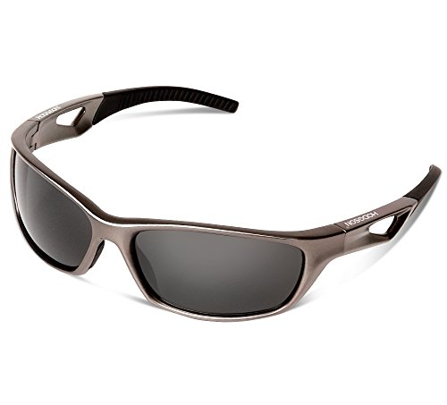 HODGSON Sports Polarized Sunglasses for Men or Women, UV400 Protection Unbreakable Sports Glasses for Cycling, Baseball Riding, Driving, Running, Golf and Other Outdoor Activities-Gray/Gray