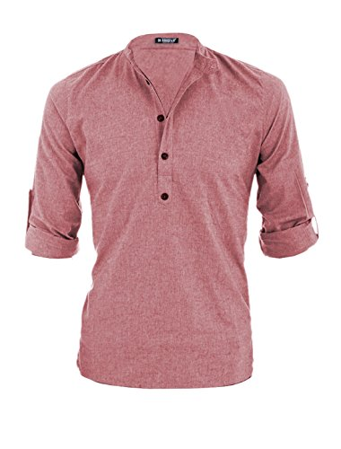 Allegra K Men Half Buttoned Placket Roll Up Sleeves Slipover Casual Shirt Red (Buttoned Placket)