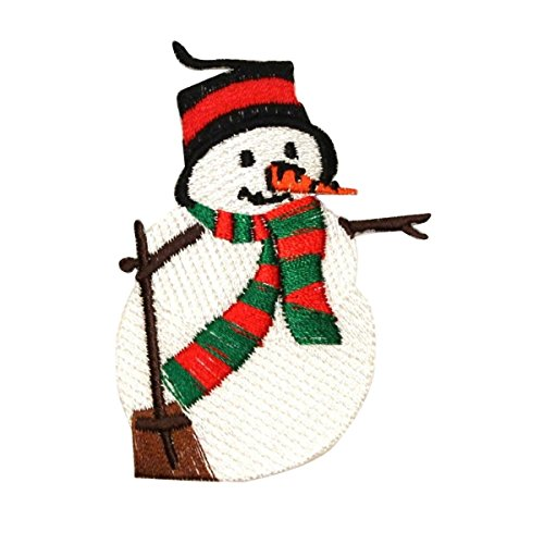 (ID 8012 Snowman Shoveling Patch Christmas Winter Embroidered Iron On Applique)
