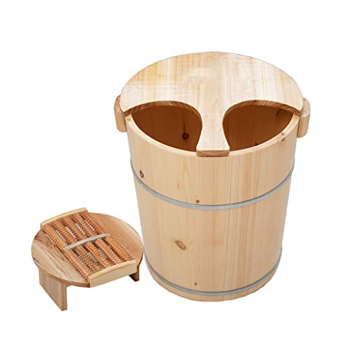 NUBAOgy Adult Footbath, White Pine Foot Bath Barrel, Wooden Foot Washing, Household Foot Bath Barrel, Pedicure Bucket, Healthy Foot Tub, 40 cm