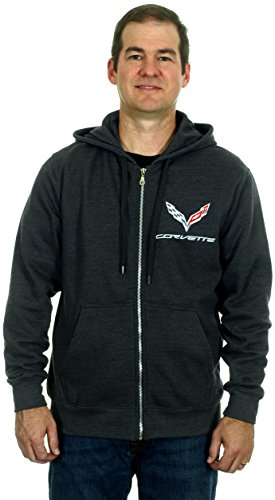 Chevy Corvette C7 Chromed Look Emblems Men's Zip Up Hoodie (Large) - Stingray Socks