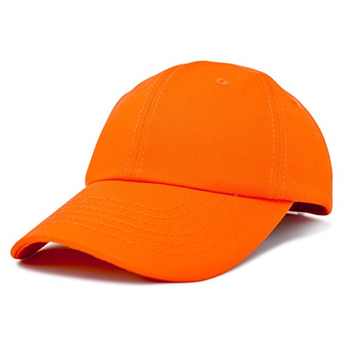 Dalix Unisex Unstructured Cotton Cap Adjustable Plain Hat, Orange -