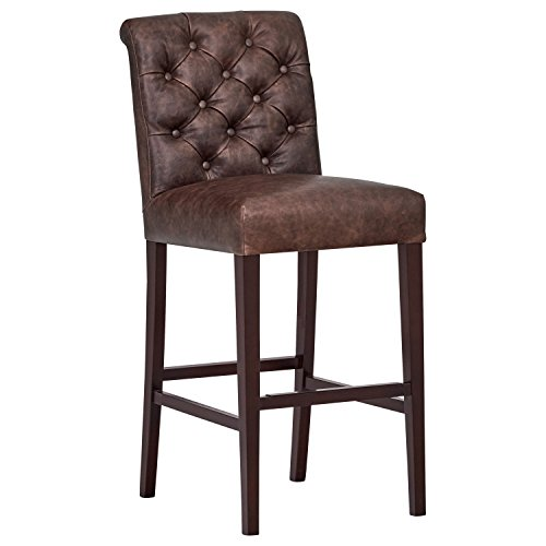 Stone & Beam Carson Leather Tufted Bar-Height Stool, 45