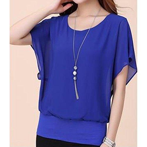 Casual souris Bleu Shirt Haut Col Rond Blouse Minetom Chemise Femme Manche Tee shirt T Chauve Tops 5q61EzxwZ