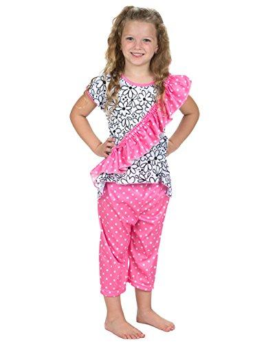 Laura Dare Girls Sweet Daisey Vertical Ruffle Pajamas
