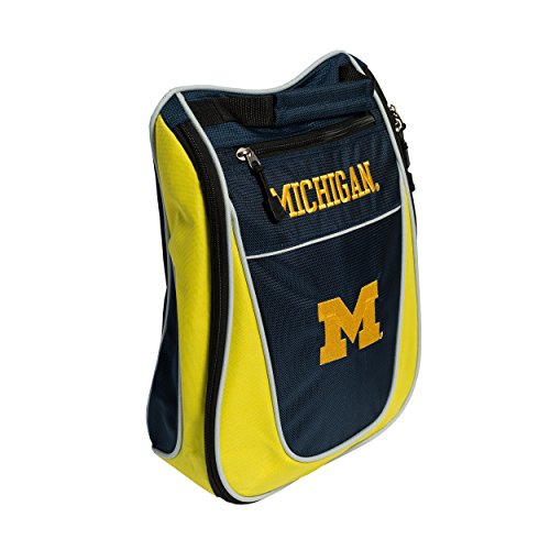 Team Golf NCAA Michigan Wolverines Travel Golf Shoe Bag, Reduce Smells, Extra Pocket for Storage, Carry -