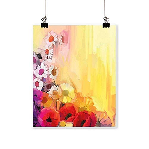 (1 Piece Wall Art Painting Daisy Peony Lily Poppy Gerbera Chamomile Petals Spring Drawn Image Living Room Office Decoration,24