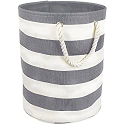DII Woven Paper Basket or Bin, Collapsible & Convenient Home Organization Solution for Bedroom, Bathroom, Dorm or Laundry (Small Round - 14x12) - Gray Rugby Rugby Stripe