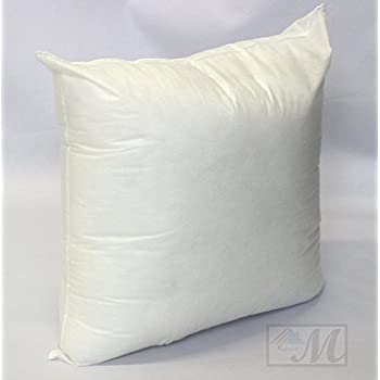 Mybecca 18 X 18 Sham Stuffer Square Hypoallergenic Pillow Insert Polyester, White (First Quality) Made in USA