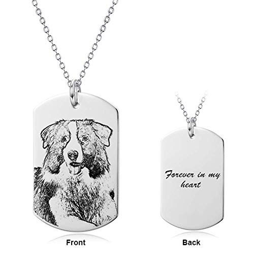 LONAGO Personalized Photo Necklace Heart Custom Engraved Dog Tag Pendant Christmas Birthday Gifts for Women Men(Rectangle-Sterling Silver, 18)