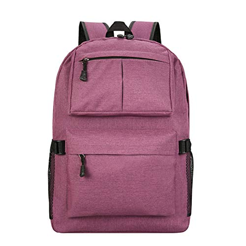 Resistant Computer Backpack Shopping Waterproof Color School Students Large Solid Wear Couples Capacity Suitable Anti Theft Bag Purple Travel Life Daily Canvas For Simple Bag vxqx56f