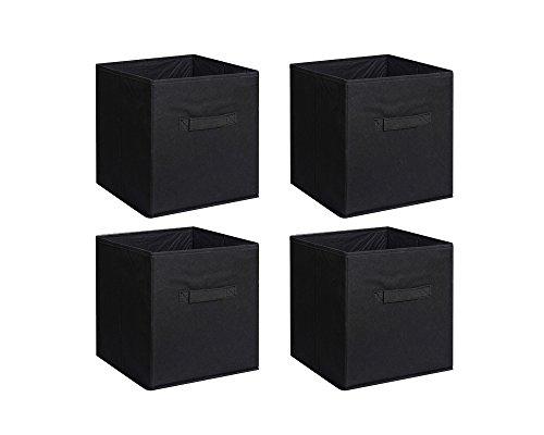 New Home Storage Bins Organizer Fabric Cube Boxes Shelf Basket Drawer Container Unit (4, Black)
