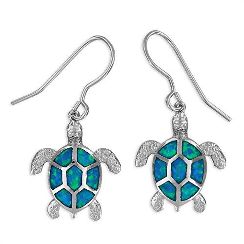 Sterling Silver Synthetic Blue Opal Turtle Dangle Earrings