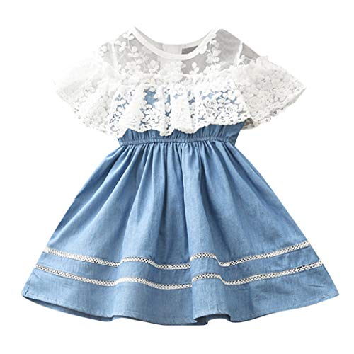 Toddler Kids Baby Girls Denim Dresses Lace Floral Embroidery Dresses Cute Elegant Tulle Party Dresses 2-7Y Swiusd (Blue, 3-4 Years)
