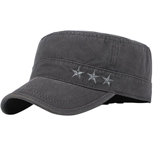 Unisex Military Cap (Men's Cotton Flat Top Peaked Baseball Twill Army Millitary Corps Hat Cap Visor (Stars Gray))
