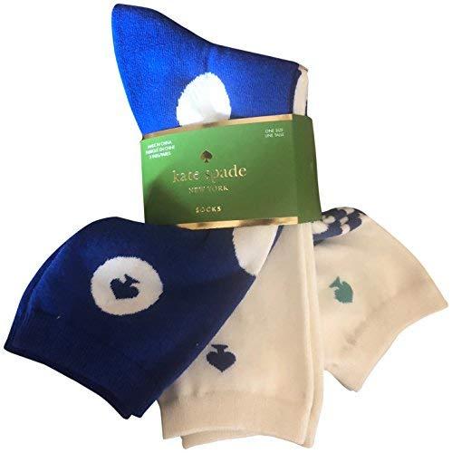 Kate Spade Trouser Socks 3 Pack Blue Stripe Polka Dots ()