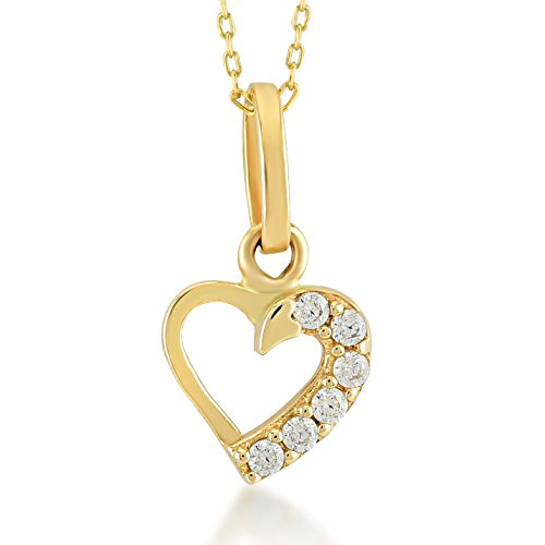 Gelin 14k Yellow Gold Simple Forever Love Heart Pendant Necklace for Women with Cubic Zirconia - Certifed Fine Jewelry Gift for Girlfriend, Wife, Fiance, 18 inc