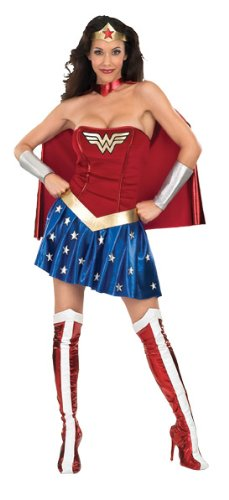 Deluxe Wonder Woman Halloween Costume, Blue/Red