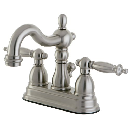 Kingston Brass KS1608TL Centerset Lavatory Faucet with Brass Pop-Up Drain, Brushed Nickel