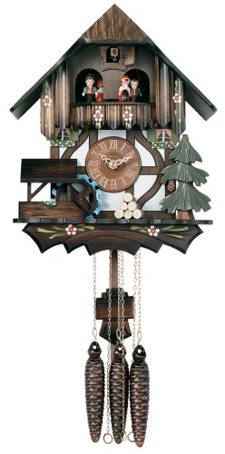 - River City Clocks One Day Musical Cuckoo Clock Cottage with Dancers and Moving Waterwheel - 12 Inches Tall - Model # MD400-12P