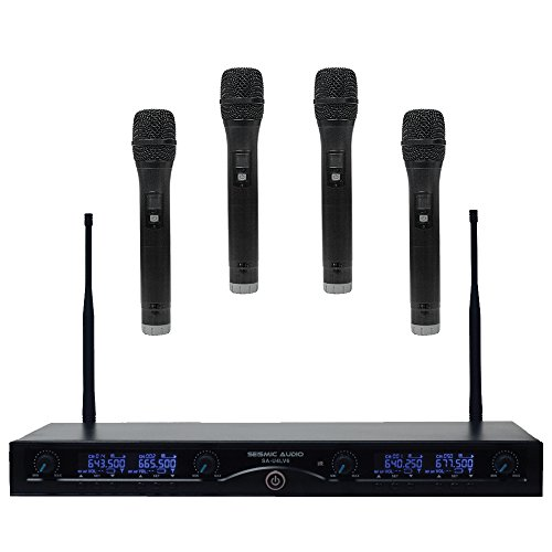 Seismic Audio SA-U4HH4 4 Channel UHF Wireless Microphone System with 4 Handheld Wireless Microphones by Seismic Audio