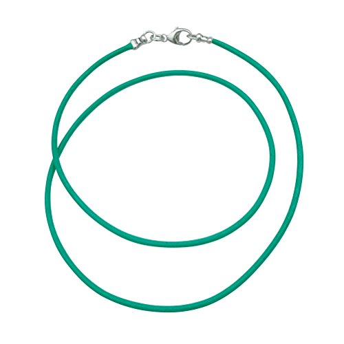 (Sterling Silver 1.8mm Fine Turquoise Leather Cord Necklace - 22 inches)