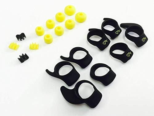 BSI OEM Original Set Replacement Yellow & Black Accessory Pack Kit 4 Pairs EarGels 4 Pairs EarWings and 4 FitClips for Jabra Sport Pulse Wireless Stereo Audio Bluetooth Earphones Headset