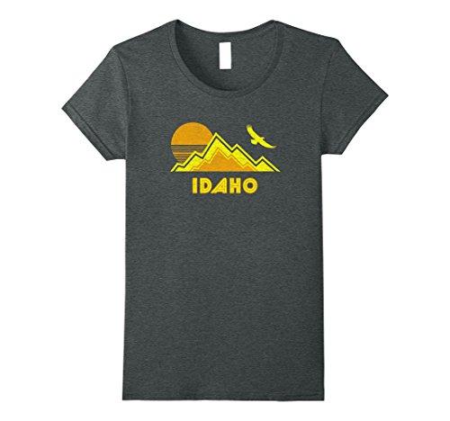 Womens Retro Idaho T Shirt Distressed Hiking Tee Large Dark Heather