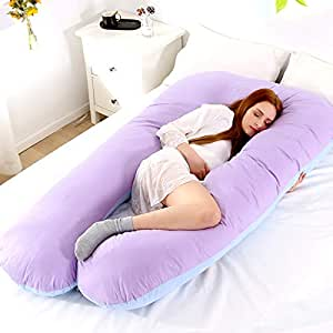 Pregnancy Pillow U-Shape Full Body Pillow and Maternity Support with Detachable Extension Pregnancy Pillow Jersey Cover, Pillow for Pregnant Women 120×65cm