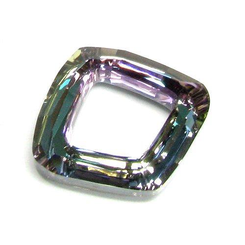 (1 pc Swarovski Crystal 4437 Cosmic Square Ring Vitrail Light Foiled Charm Pendant 20mm / Findings / Crystallized Element)