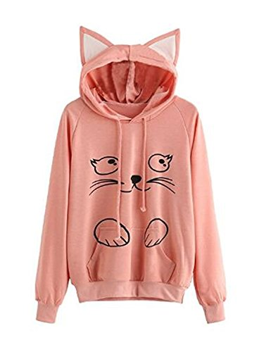 PERSUN Womens Cat Hoodie with Kangaroo Pouch and Ears Long Sleeve Casual Pullover -