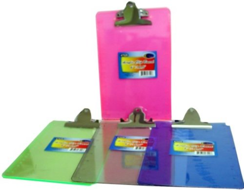 DDI 1288234 Acrylic Clip Board - 6 in. x 9 in. - assorted colors Case Of ()