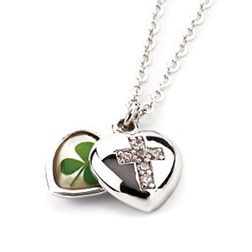 (Cross Heart Locket! Genuine Four-leaf Lucky Clover Shamrock Inside! Crystal Amber Pendant Necklace ! Blessings + Good Luck + Protection !)