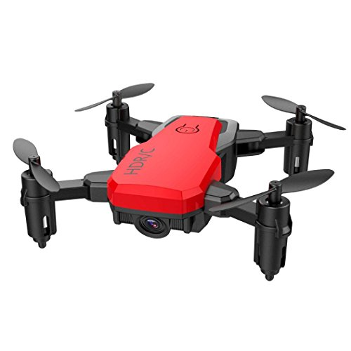 Cinhent Quadcopter Mini D2WH Foldable With Wifi FPV 0.3MP HD Camera, 2.4G 6-Axis RC Drone With Altitude Hold 4 Channels Toys, Good Choice for Drone Training (Red) by Cinhent Quadcopter