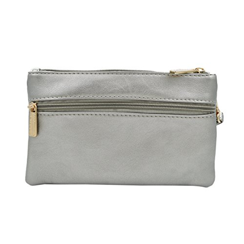 Soft Pewter Bag Braided PU Crossbody Floral Leather Rhinestone Clutch Wristlet Wallet AvSwAqxrn