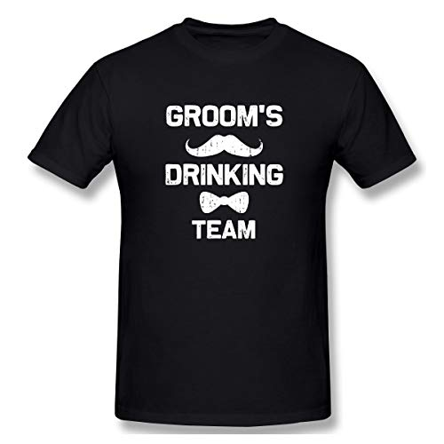(Atunme Grooms Drinking Team Bachelor Party Men's Crew Neck Short Sleeve T-Shirt Black)
