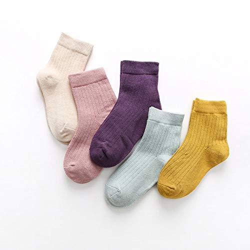 Alvndarling 5 Pairs of Children's Socks, Multi-Color Cotton Socks for Boys and Girls of Various Ages, School Sports Breathable Deodorant Antibacterial Socks Children's Daily Dress