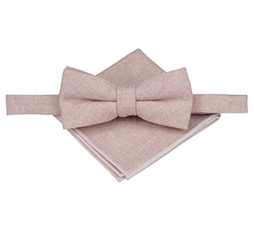 Mens Plain Wool Bowtie with Matching Pocket Square Set-Varous Color