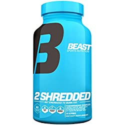 Beast Sports 2 Shredded Thermogenic Weight Loss Supplement. This All-In-One Formula Acts As a Fat Burner, Appetite Suppressant and Water Pill To Help Shed Fat and Excess Water. 60 Natural Veggie Caps