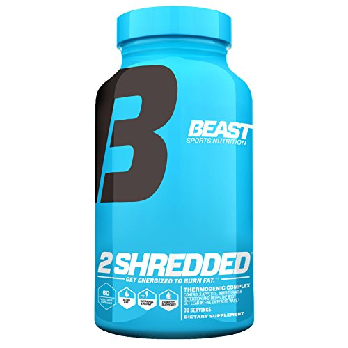 Beast Sports Nutrition – 2 Shredded – Thermogenic Weight Loss Supplement – Burns Body Fat – Controls Appetite – Supports Healthy Thyroid – Increases Daily Energy – 60 Veggie Caps