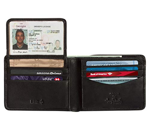 CUSTOM PERSONALIZED INITIALS ENGRAVING Tony Perotti Mens Italian Cow Leather Bifold Wallet with Removable ID Window Credit Card Case in Black