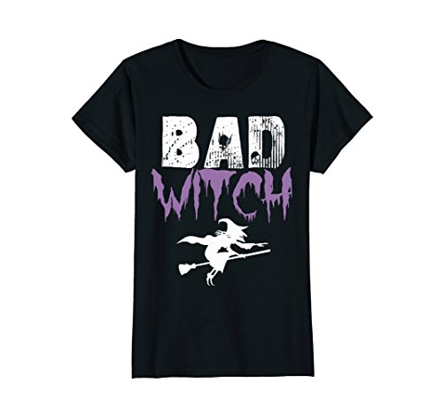 Womens Bad Witch Shirt Funny Halloween Womens Gift Idea T-Shirt XL Black -