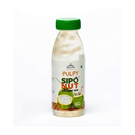 Agricoles Pulpy Siponut Natural Tender Coconut Water 200ml (Pack of 12) with NATA De Coco, High in Dietary Fibre, Gluten