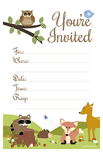 Woodland Animals Baby Shower or Birthday Invitations - Fill In Style (20 Count) With Envelopes -