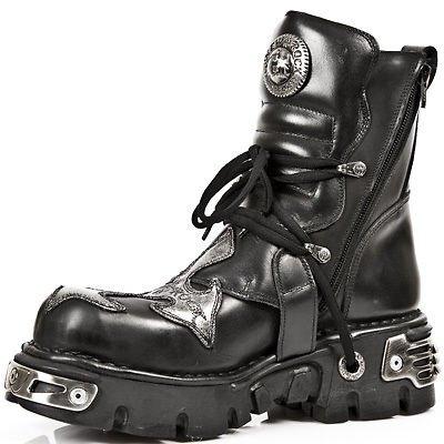 NEWROCK New Rock 407 Croix d'Argent noir gothique Biker Boot Bottes