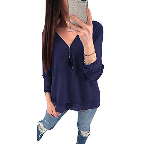 18c7d5a54fa62 Hibote Cómodo Suave Mujer Larga Cuello Liso Mujeres Color V Oscuro Chic Con Blusas  Azul Cremallera ...