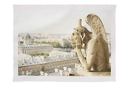 Lantern Press Gargoyle on Notre Dame, France Photography A-91332 (60x80 Poly Fleece Thick Plush Blanket)