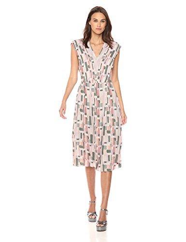 Dear Drew by Drew Barrymore Womens The Impressionist Pleater V-Neck Midi Dress